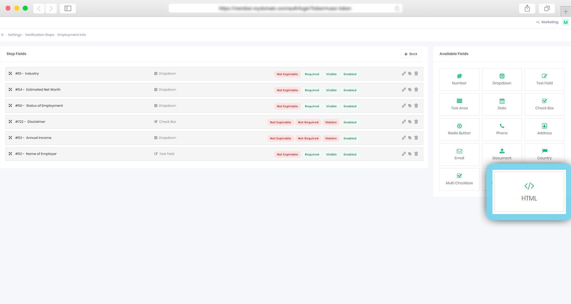 We added Custom HTML type on verification steps 3